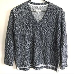 Lou & Grey Small Cotton Marled Sweater Black Navy